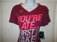 Nike Purple Pink Fuschia You're Late First Is Taken Short Sleeve V-Neck Shirt M