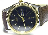 mens Citizen President Calendar Day Date Gold Plated SS Black Face dress watch m