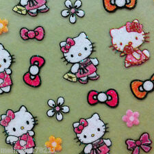 Nail Art 3D Sticker Glitter Decal Hello Kitty Angle w/ Purse Flower & Bow 48pcs