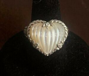NWOT Judith Ripka Sterling Carved Mother-of-Pearl Ring Size 7