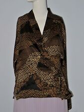 DANA BUCHMAN Size 10 100% Silk Black and Gold Wrap V-Neckline Blouse