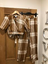 Gorgeous Women's TOPSHOP Brown Check Plaid Trousers & Crop Top Size UK 8