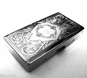 Victorian Style Cigarette Case Double Sided King & 100s Etched Pattern 4x2inch