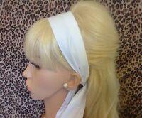 NEW PLAIN WHITE COTTON HEAD HAIR SCARF BAND SELF TIE BOW VINTAGE RETRO 50S STYLE