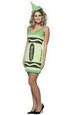 Womens Crayola Crayon Screaming Green Fancy Dress Costume