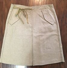 United Colors Of Benetton Woman's 46 Tan Beige Wool Blend Skirt Knee Length EUC