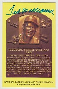 Ted Williams Autographed Yellow Hall of Fame Plaque Card