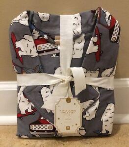 NEW Pottery Barn Teen Yeti SMALL Flannel Pajama Set GRAY MULTI