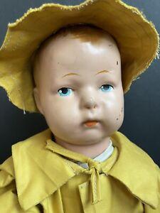 "Antique Composition Ideal 15"" Raincoat Uneeda Biscuit Promotional Boy Doll"