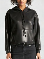 True Religion $299 Joan Coated Leather-Like Hoodie Shirt/Top - WB336VK0 Size XS