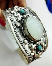 Oval White Moonstone Cuff Bracelet Bangle old Tibet Silver Carved Lace Gift