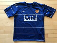 Authentic Nike Dri-Fit Youth Sz L Manchester United Blue Aig Soccer Jersey