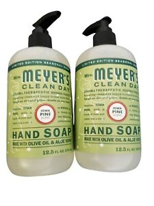 Lot of 2 Mrs MeyersHand Soap Clean Day Iowa Pine Scent - 12.5 Ozlimited edition