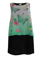 Ladies Emily Plus Size Black Green Floral Print Dress 16 - 26