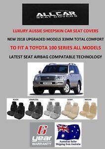 Sheepskin Car Seat Covers to fit Toyota Landcruiser 100 Series, Platinum 33mm.TC