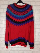 VINTAGE RETRO 90'S COSBY AZTEC WOOL OVERSIZED JUMPER SWEATER PULLOVER UK S