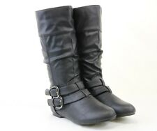 Sexy Women Riding Boots Mid Calf Causal Design Flat Heels With Side Zipper