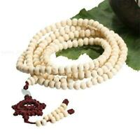 6mm 216 White Wooden sandalwood Rosary Bracelet dharma wheel Lucky Wrist Elegant