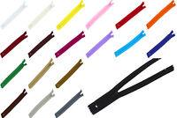 20 Reißverschlüsse P Nylon Spiral nicht-teilbar 3mm Reißverschluss unteilbar 3mm