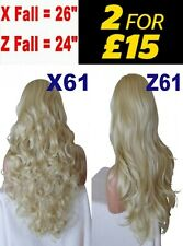 BABY PALE BLONDE Long Curly Layered Half Wig Fall Hair Clip Piece 3/4 Wig Fall