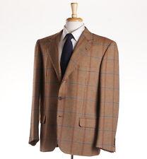 NWT $5695 BRIONI 'Traiano' Windowpane Check 100% Cashmere Sport Coat 42 S