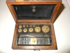 Vintage, weight set for balance scale, used, in case, incomplete, brass