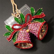 Rose Christmas Bells Betsey Johnson Pendant Necklace K25