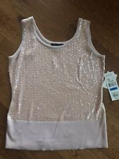 35cc98f0a6bc83 Women s Karen Kane Sequin Cotton Tank Top Shirt Pink Size XL NWT MSRP  98