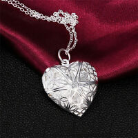 Fashion Womens Silver Heart lover locket chain necklace pendant valentine Gift