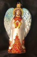Vtg Angel Hand Mouth Blown Mercury Glass Old World Christmas Ornament Ornate