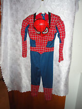"BOYS ""SPIDER MAN"" HALLOWEEN COSTUME WITH PLASTIC MASK-SIZE MEDIUM 8-10"