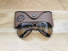 Vintage Ray Ban Aviators Leather B&L Sunglasses Bausch&Lomb USA 62mm Changeable