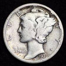 1931-D MERCURY DIME / CIRCULATED GRADE GOOD / VERY GOOD 90% SILVER COIN