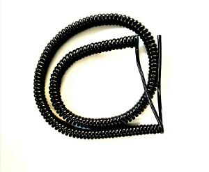 """4 CORE 0.5sqmm COILED BLACK PUR CABLE. 1.25 metre (49"""") COIL LENGTH"""