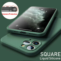 For iPhone 11 Pro Max XS XR X 6s 7 8 Plus Thin Square Liquid Silicone Case Cover