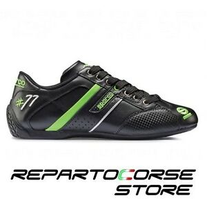 Shoe Shoes Sparco - Model Time 77 Black - Green - Leather - 001205 - Size 44