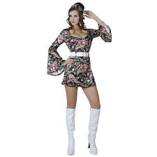 # Negro 1960s & 1970s GO GO vestido adulto Size 8/12# Disco fiebre Disfraz