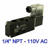 """Pneumatic 4 Way 2 Position Directional Control Air Solenoid Valve 110V AC 1/4"""""""