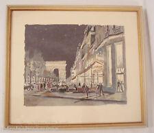 Herbelot signed numbered Les Champs Elysees Print l'Arc de Triomphe Paris