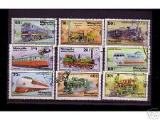 0821++MONGOLIE   SERIE TIMBRES TRAINS