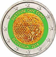 Slowenien 2 Euro 2018 UN Weltbienentag prägefrische Gedenkmünze in Farbe