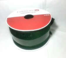 Celebrate It Christmas Wired Velvet Ribbon Green 2.5 in x 5 Yards Polyester