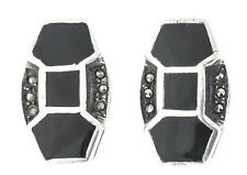 Vintage Deco Sterling-Silver Marcasite Earrings - Rare