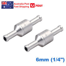 2x 6mm Aluminum One Way Fuel Non-return Check Valve for Petrol and Diesel Oil AU