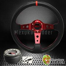 Black/Red 350mm Deep Dish PVC Steering Wheel & Hub Adapter Genesis 2009-2014
