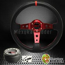 Black/Red 350mm Deep Dish Steering Wheel & Hub Adapter Mazda Miata 1990-2005