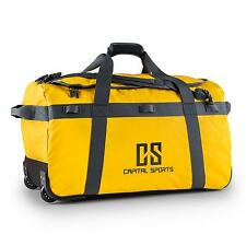 YELLOW 90L 4in1 TRAVEL DUFFLE BAG RUCKSACK CARRY SPORTS BAG HAND TROLLEY WHEELED