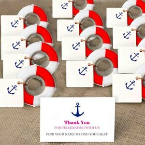 50×Nautical Lifesaver Bottle Opener with Tags Wedding Favors Souvenirs for Guest