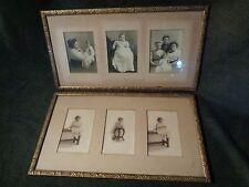 2 Antique WIDE carved PRESSED pattern WOODEN FRAME 3 MATTED Photograhs
