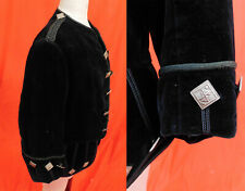 Victorian Little Lord Fauntleroy Childs Black Velvet Silver Button Suit Jacket